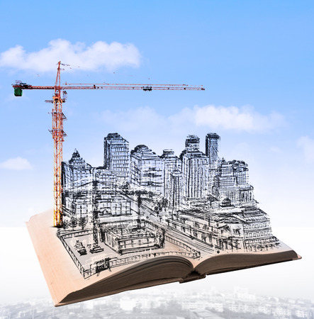 sketching of building construction on flying book over urban scene use for civil engineering and land development topic photo