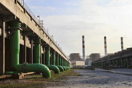scene of Thermal Power Plant and cool down water building