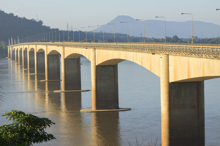 infra construction: loas-japan bridge crossing Mekong river in Champasak southern of Loas
