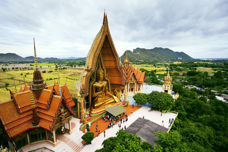 eyes cave: birds eyes view of Wat Tum Seua  tiger cove temple  Kanchanburi provine Thailand