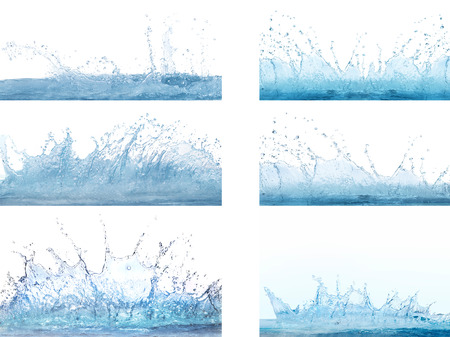 refreshment: mixed form of splashing clear and clean  water on white background use for refreshment and cool backdrop ,textured Stock Photo