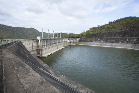 hydroelectricity: Srinagarind Hydroelectricity Dam building below water level  Stock Photo