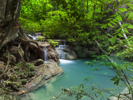national fruit of china: lime stone water fall in arawan water fall national park kanchanaburi thailand use for natural background