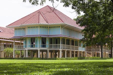 hin: beautiful landscape scene of Marukhathaiyawan Palace most dazzle wood palace house in cha-am petchaburi southern of thailand  Editorial
