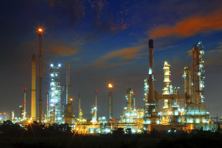 dazzled: beautiful landscape dusky sky of heavy industry oil refinery plant with dazzled lighting