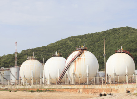 lpg gas tank storage in petrochemical heavy industry estate use for fuet power and energy topic  photo