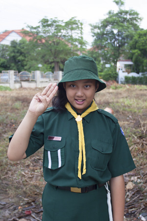 thai student: thai girl scout green uniform