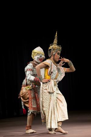 BANGKOK THAILAND - AUGUST 7   Hanuman and lady fish Suphanmucha courtship scene in Khon playing one theme of great thai lliterature Ramayana  on august7,2014 in bangkok Thailand