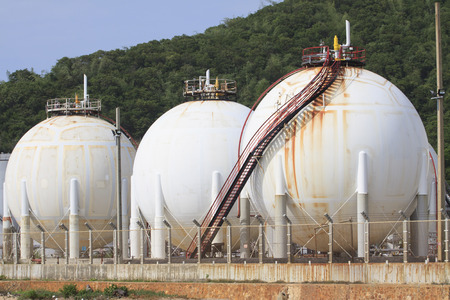 lpg gas tank storage in petrochemical heavy industry estate use for fuel power and energy topic  photo