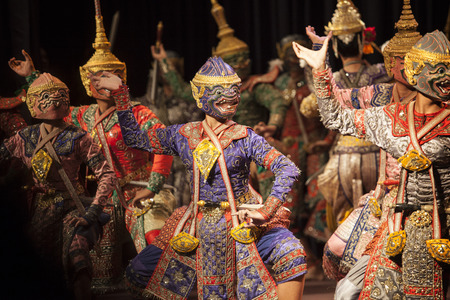 BANGKOK THAILAND - AUGUST 7 hanuman brothers one part of  Praram army force great scene in Khon playing one theme of great thai lliterature Ramayana stage show  on august7,2014 in bangkok Thailand