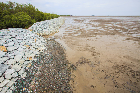 coastal erosion: rock dam protection sea mangrove form natural sea storm damage for save environment Stock Photo