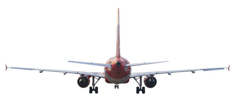 air liner: rear view of passenger plane isolated white background Stock Photo