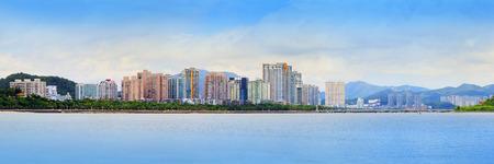 중국 남부에서 주 도시의 파노라마보기 홍콩과 마카오 근처 새로운 경제 도시