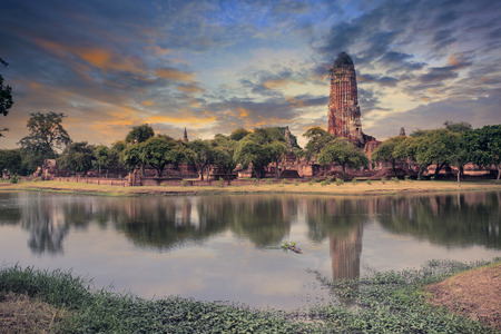 land scape: land scape of ancient and old  pagoda in history temple of Ayuthaya, central of thailand important destination of tourist Stock Photo