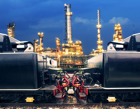 land transportation: heavy truck trains in land transport and logistic against lighting of petrochemical oil industry use for land transportation and heavy container of product