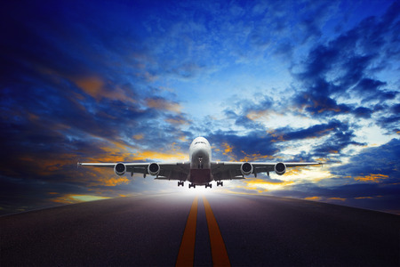 airplane take off: jet plane take off from urban airport runways use for air transportation and business cargo logistic industry Stock Photo