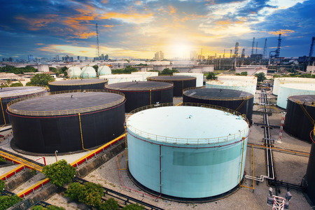 land scape: oil storage tank in petrochemical refinery industry plant in petroleum and heavy industrial plant with beautiful land scape scene