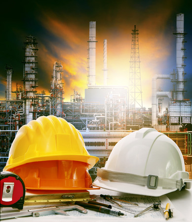 industrial industry: working table of engineer in oil refinery industry plant use for heavy industry and energy manufacturing in industrial business Stock Photo