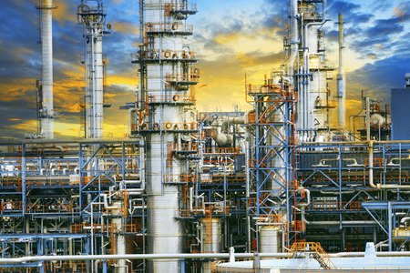 close up exterior strong metal structure of oil refinery plant in heavy industry estate site  Reklamní fotografie - 31841113