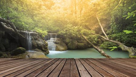 residents: wood terrace against beautiful limestone waterfalls Stock Photo