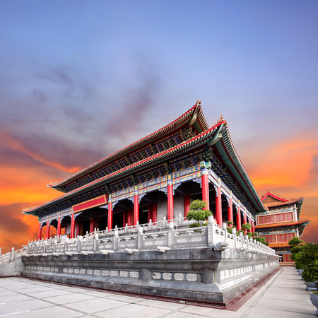 beautiful chinese temple against dusky sky use for china ,east asia architecture and religious culture of building construction