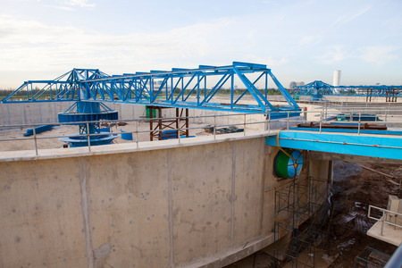 waterworks: waterworks production tank in construction at water suppies industry estate site Editorial