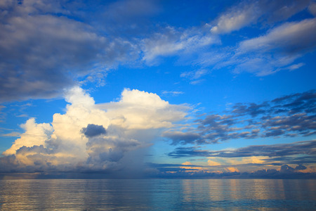 cloud scape: beautiful blue sky with cloud scape over blue ocean use as natural background,backdrop
