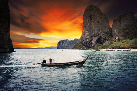 southern thailand: beautiful sea scape wood boat of Railay bay krabi southern of thailand