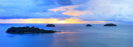 panorama of sun set sky at koh chang island trat province important destination to visiting of eastern thailand photo