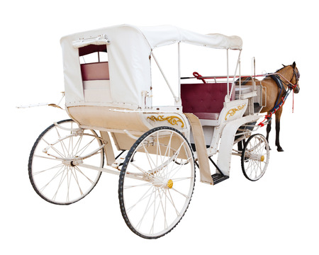 horse drawn: rear view of horse fairy tale carriage cabin isolated white background use for transport decoration object