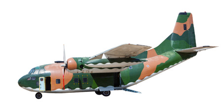 heavy military container plane isolated white background photo