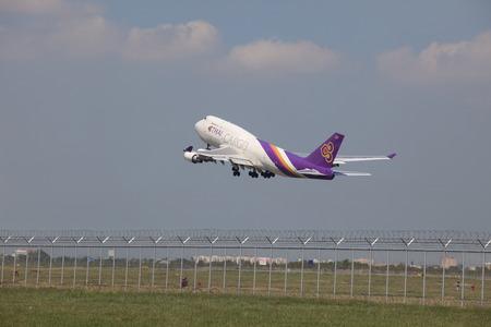 runways: BANGKOK THAILAND - May31 - thai airway cargo plane take off from runways at suvarnabhumi international air port on May31,2014 in Bangkok, Thailand. Editorial