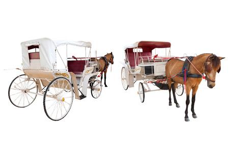 フロントと馬おとぎ話キャリッジ小屋の背面分離白背景用トランスポート装飾オブジェクト