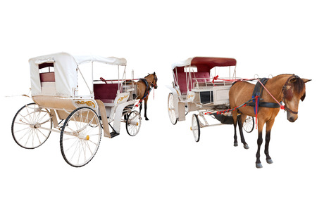 front and rear view of horse fairy tale carriage cabin isolated white background use for transport decoration object photo