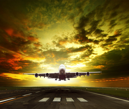 runways: passenger plane ready to take off on airport runways use for traveling ,cargo ,air transport ,business