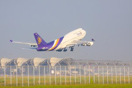 runways: BANGKOK THAILAND NOVEMBER 22 : thai airways plane take off from Suvarnabhumi Airport runways on november22,2014 Bangkok Thailand