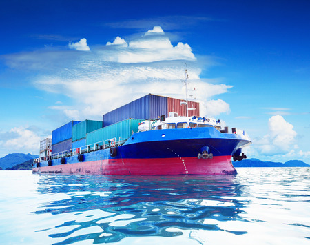 commercial container ship in naval transportation use for business import export and cargo logistic industry Stock Photo