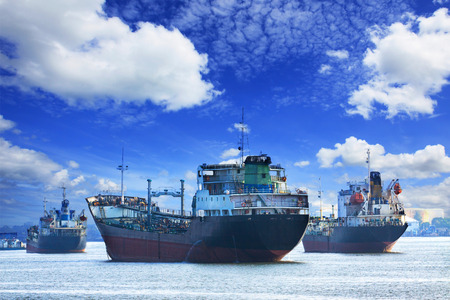 oil and industrial tanker transport ships Stock Photo