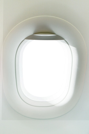 midair: real photo of plane window with copy space for background ,backdrop using Stock Photo