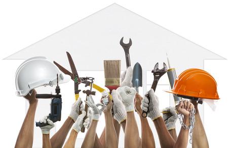 hand en thuis werken instrument tegen huis patroon van achtergrondgeluid gebruik diy en huiseigenaar onderhoud Stockfoto