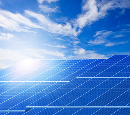 technolgy: sun light and solar cell panels  against beautiful clear blue sky use as clean electricity power of pure natural background ,and related of ecology energy of nature