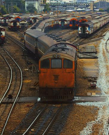 land transportation: Bangkok trains station junction of railroads track use for government land transportation service