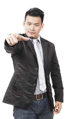 requirement: face of asian man pointing hand to watching to isolated on white background use for man ,people requirement and serching human to choose for working job