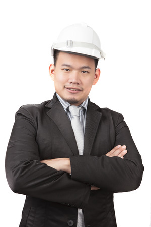 ingeniero civil: cara de hombre asi�tico ingeniero civil de negocio de la industria de la construcci�n aislado fondo blanco Foto de archivo