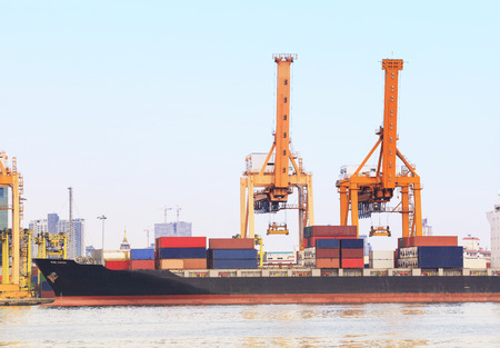 industry container ship on port for import export goods trading and shipping business photo