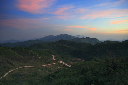 land scape: land scape beautiful sky and mountain scene on dusky time of thailand - myanmar border