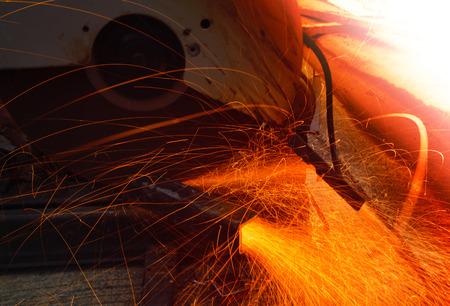heavy metal grinding in  steel iindutry  factory photo