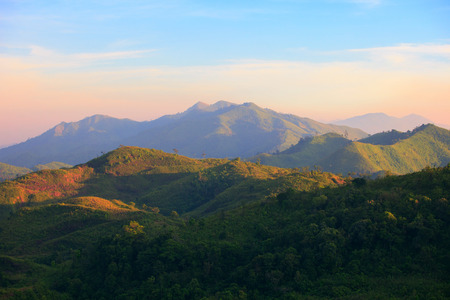 land scape: beautiful land scape of mountain forest between thailand and myanmar border kanchanaburi thailand