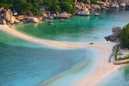 southern thailand: top view of white sand beach of Nang Yuan Island beautiful destination sea heaven place in southern of thailand