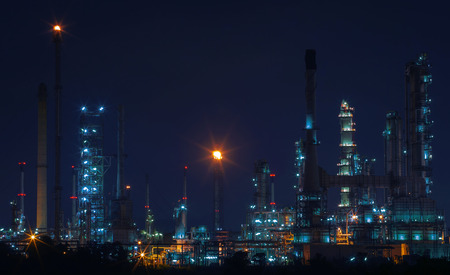 heavy fuel: beautiful night scene landscape of oil and gas refinery factory with lighting equipment in heavy petrochemical industry estate use for fuel power and energy from fossil production